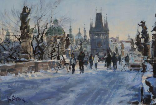 Zima na Karlově mostě
